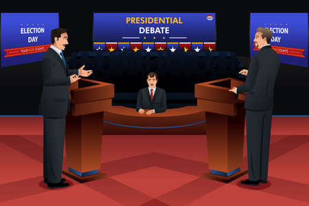 debate: A vector illustration of presidential debate