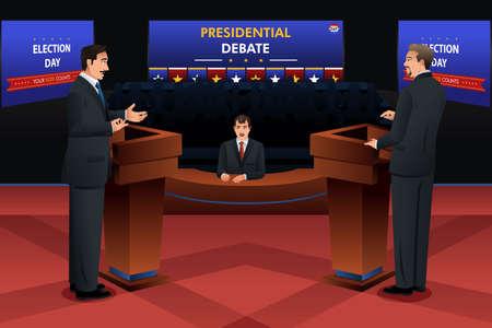Een vector illustratie van de presidentiële debat
