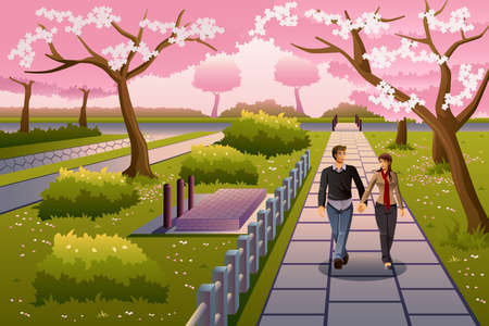 A vector illustration of happy couple walking in a park during cherry blossom