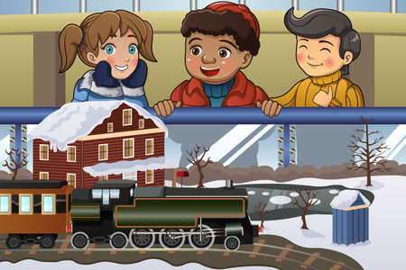 train cartoon: A vector illustration of happy kids looking at miniature train