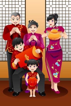 中国の旧正月を祝う家族のベクトル イラスト