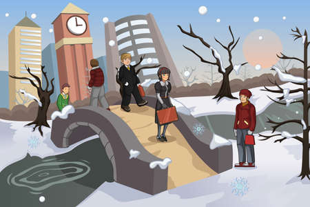 winter park: A vector illustration of people walking in the park during winter