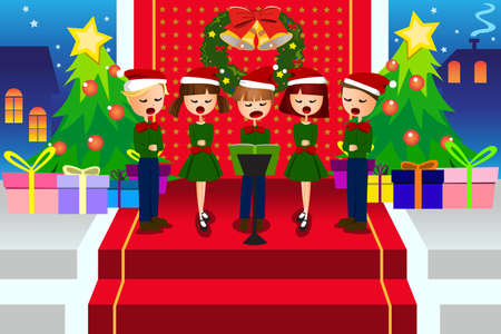 cartoon singing: A vector illustration of happy kids singing Christmas Carols
