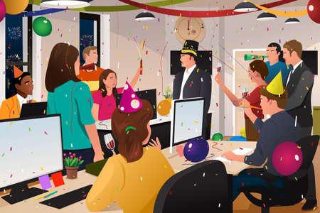 慶典: 一群商務人士的矢量插圖在辦公室慶祝新年