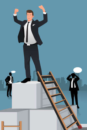 A  vector illustration of businessmen climbing to the top of box for success concept Çizim