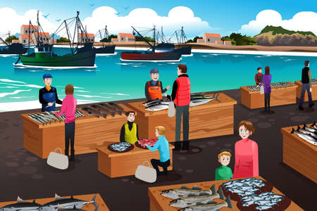 A vector illustration of fish market scene
