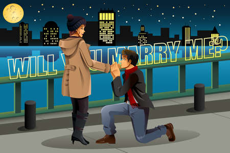 romantic couple: A vector illustration of man proposing to his lover in the city