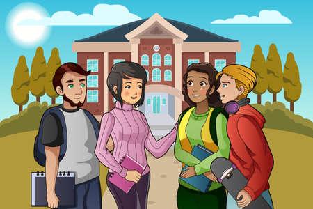 Een vector illustratie van studenten die op campus
