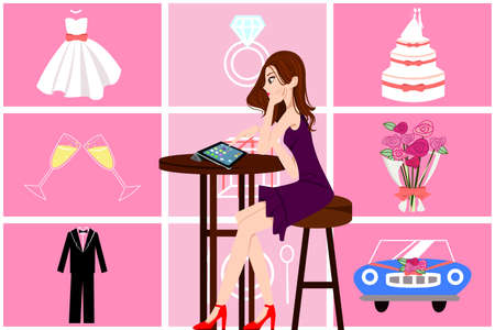 A vector illustration of beautiful woman planning her wedding online