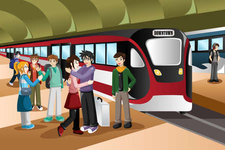 saying: A vector illustration of  kids saying farewell  in front of departing train at station