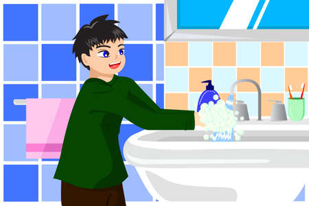 A vector illustration cute boy washing hands with soap Vettoriali