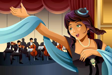 ステージで歌うオペラ歌手のベクトル イラスト
