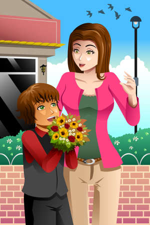 cartoon present: A vector illustration of happy girl giving bouquet of flowers to her beautiful mother