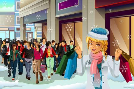 mujer alegre: Una ilustración vectorial de compras de la gente para la Navidad durante la temporada de invierno Vectores