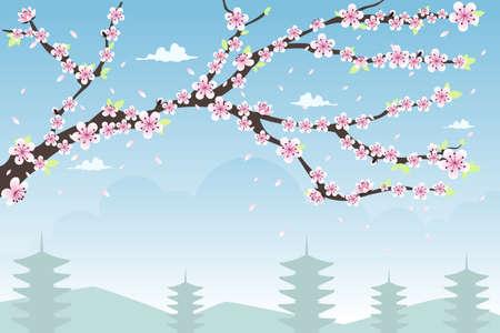 flor de sakura: Una ilustraci�n vectorial de dise�o de fondo de flor de cerezo con copyspace