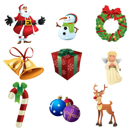 saint nick: A vector illustration of Christmas icon sets Illustration