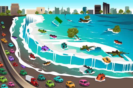 crashing: A vector illustration of giant tsunami waves crashing town
