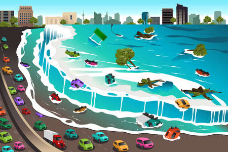 A vector illustration of giant tsunami waves crashing town
