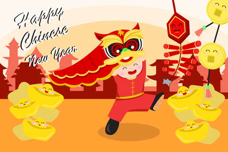 traditional culture: A vector illustration of Chinese new year greeting card design