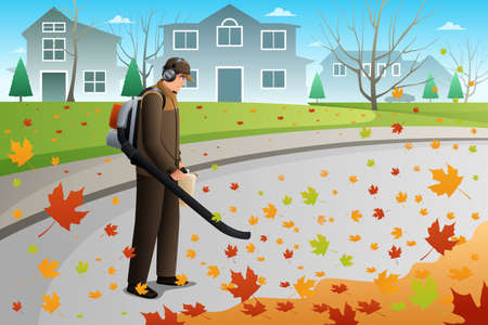A vector illustration of man using blower to clean up leaves during fall season using a blower
