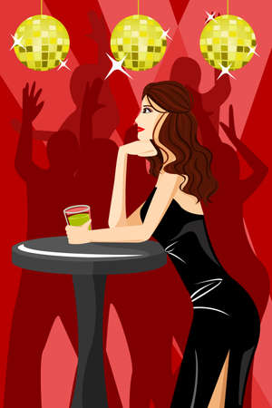 sexy girls: A vector illustration of beautiful girl dancing with disco background