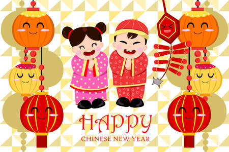 new year card: A vector illustration of Chinese new year greeting card design