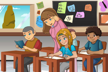 A vector illustration of students studying in classroom with teacher
