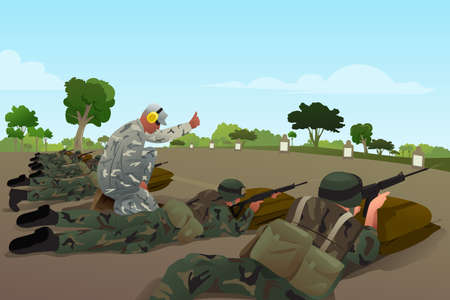 A vector illustration of soldiers in military training