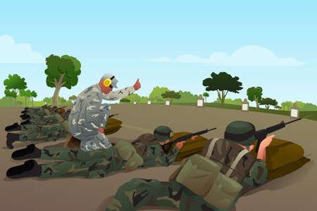 tiro al blanco: Una ilustración vectorial de los soldados en el entrenamiento militar Vectores