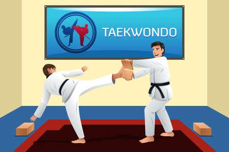 deportes caricatura: Una ilustraci�n vectorial de la gente que practica taekwondo en un dojo