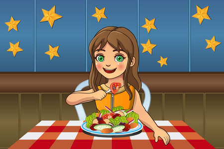 A vector illustration of little girl eating a plate of salad Çizim