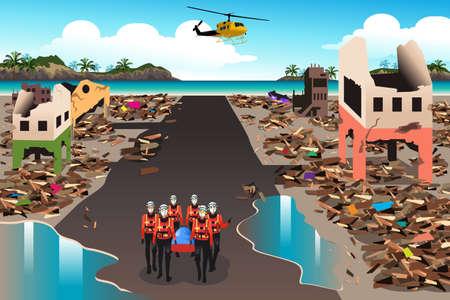 Una ilustración vectorial de los equipos de rescate buscando a través del edificio destruido durante el tsunami