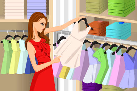 A vector illustration of beautiful girl buying clothes at a clothing store
