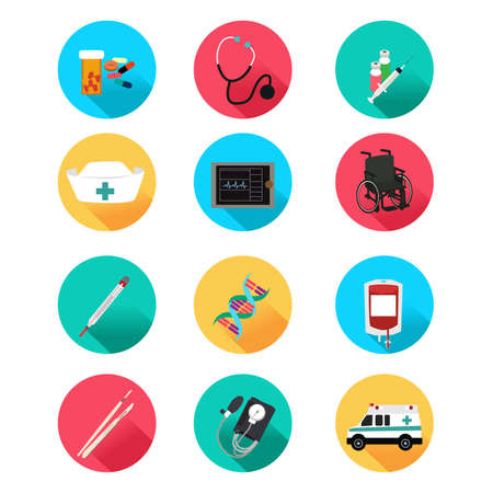 blood pressure monitor: A vector illustration of medical icon sets Illustration
