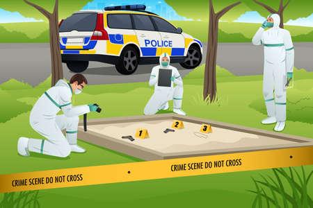 取り組んでいる犯罪現場捜査のベクトル イラスト