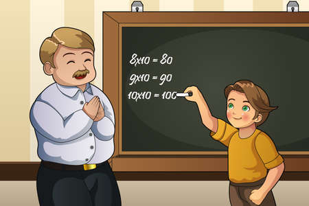 A vector illustration of student solving math problem on the blackboard in class with the teacher