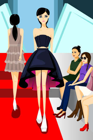 A vector illustration of beautiful fashion model walking on runway show