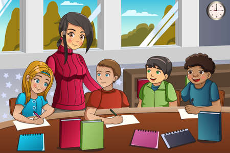 cartoon: A vector illustration of students studying in classroom with teacher