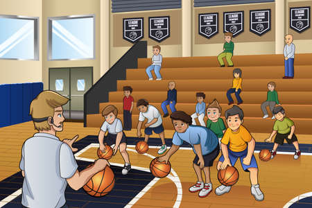 A vector illustration of kids practicing basketball indoor