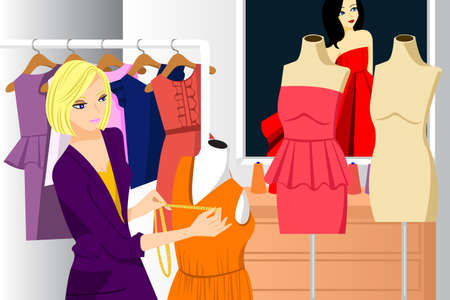 fashion: A vector illustration of beautiful fashion designer working in her studio