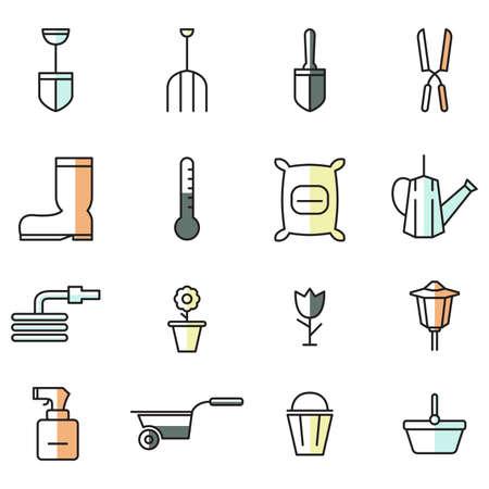 wheel barrow: A vector illustration of spring gardening icon sets in flat design