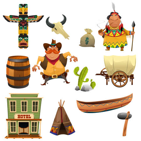 bag cartoon: A vector illustration of cowboys and Indian icon sets