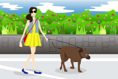 A vector illustration of modern girl walking with her dog in the park Çizim