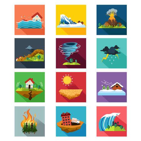 sequias: Una ilustración vectorial de conjuntos de iconos de desastres naturales
