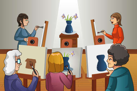 A vector illustration of group of people in painting class