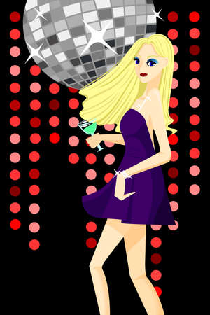 A vector illustration of beautiful girl dancing with disco background