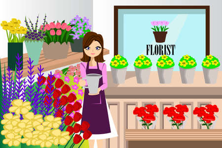 A vector illustration of beautiful florist working with bunch of different flowers in the flower shop
