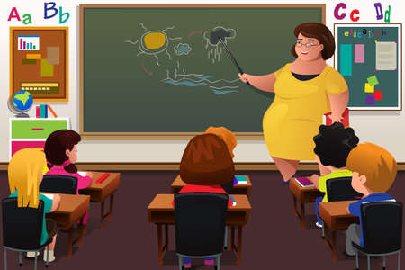 A vector illustration of teacher teaching biology in a classroom