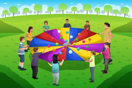 cartoon rainbow: Una ilustraci�n vectorial de maestro jugando paraca�das arco iris junto a sus estudiantes