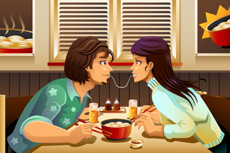 A vector illustration of romantic couple eating noodle together